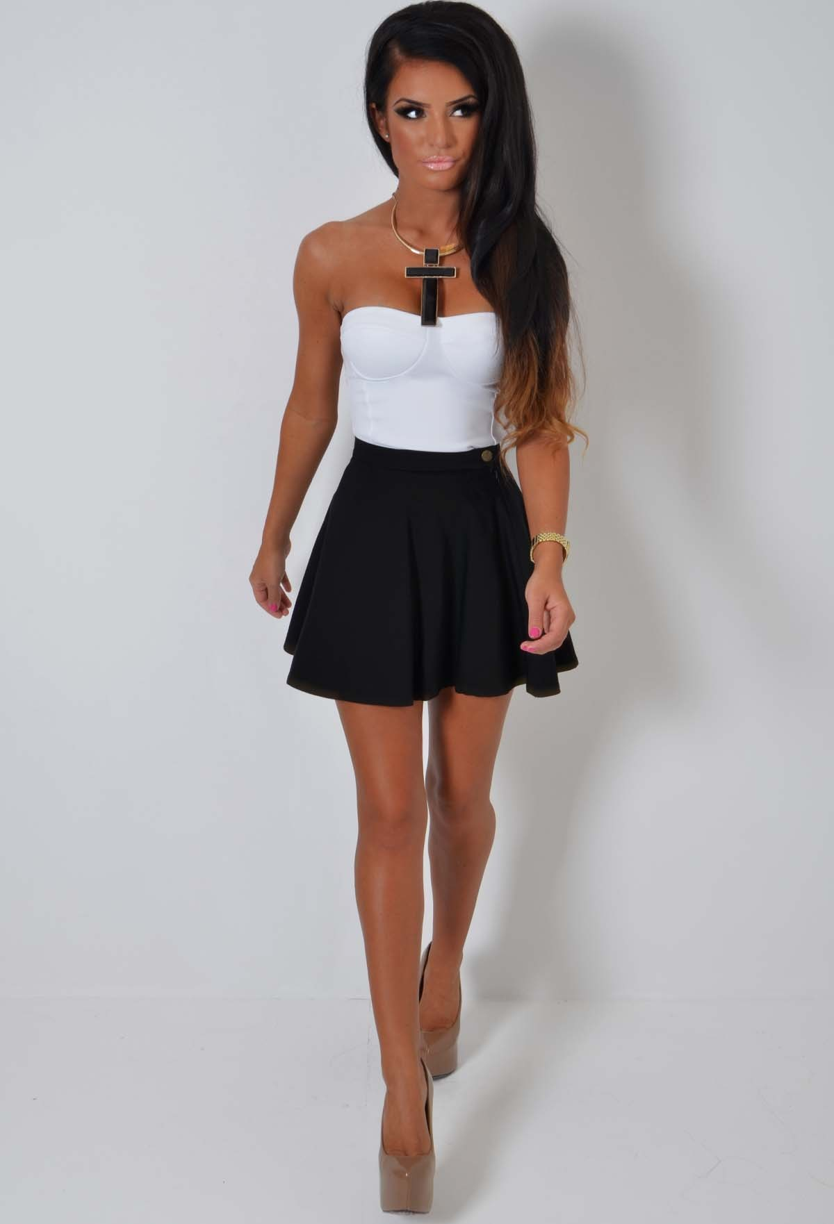Black High Waist Skater Skirt | Pink Boutique
