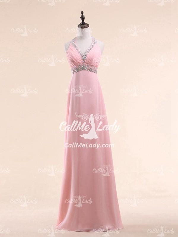 Pink rhinestones halter long prom dresses - CallMeLady