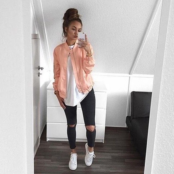 jacket peach bomber jacket