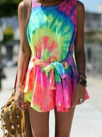 dress neon tie dye tie-dye summer outfits summer dress hipster hippie house of troika bright colored clothes mini dress festival jewels bag beach cover up tie dye print rainbow romper tie dye dress short dress colorful