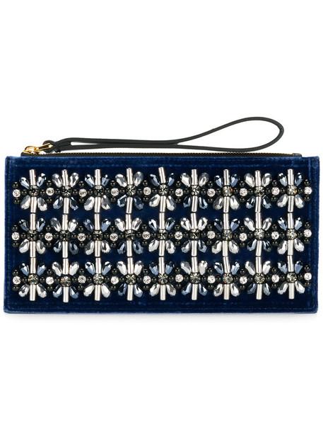 women embellished bag clutch leather blue velvet