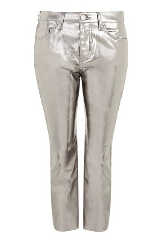 jeans flare cropped metallic silver