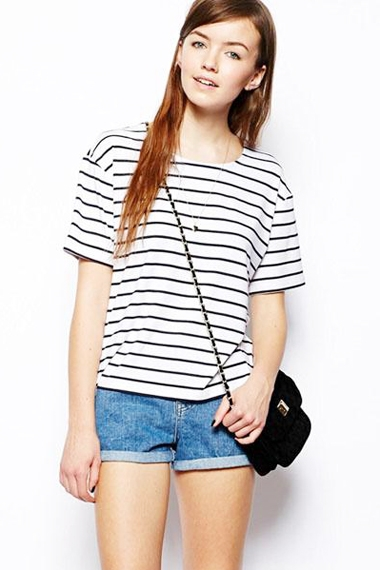 Striped O-neck Short Sleeves Loose Cotton T-shirt