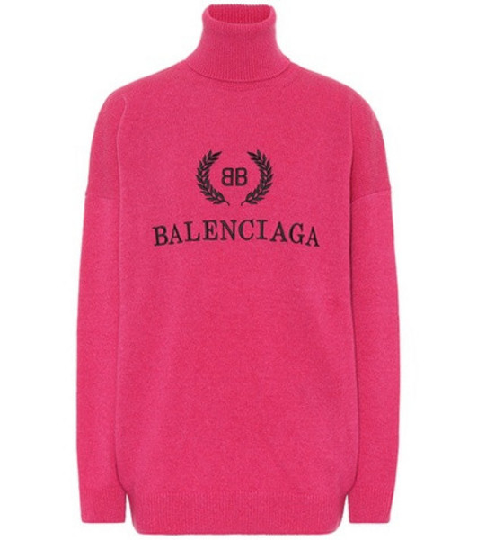 Balenciaga Wool and cashmere sweater in pink