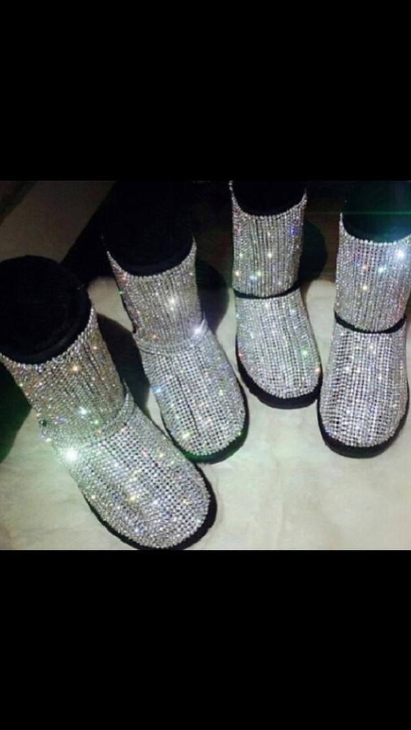 shoes bling sequin silver rhinestone uggs ugg boots