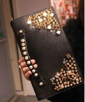 bag,black bag,glitter,studs,spikes,spikes and studs,small bag,small black bag,black dress,black bag with studs,black bag with gold,black bag with gold details,leather bag,ikandi boutique,diamante bag,studded,studded bag,handbag,crystal,punk,evening bag,evening outfits,cute,beautiful,leather,women