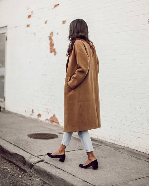 coat tumblr camel camel coat denim jeans blue jeans shoes pumps velvet velvet shoes