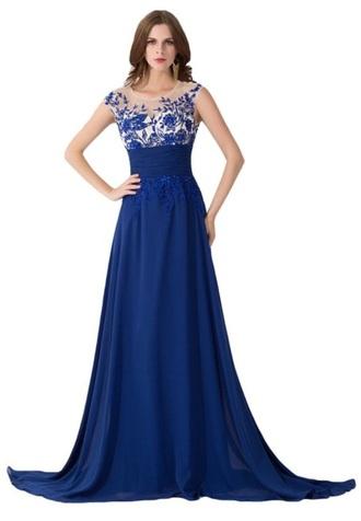 dress blue dress illusion neckline lace dress