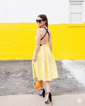 dress,tumblr,yellow,yellow dress,open back,open back dresses,backless,backless dress,sandals,sandal heels,high heel sandals,bag,spring outfits,sunglasses,shoes,jewels
