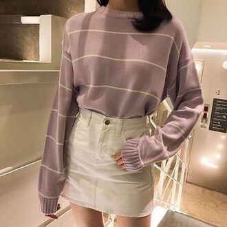 sweater withe skirt tumblr stripes lilac sweater lilac