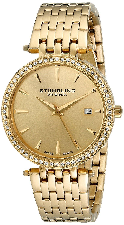 Amazon.com: stuhrling original women's 579.03 soiree swiss quartz swarovski crystals date gold tone watch: watches
