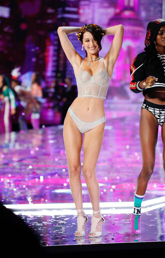underwear bra bella hadid model runway victoria's secret victoria's secret model panties lingerie lingerie set top