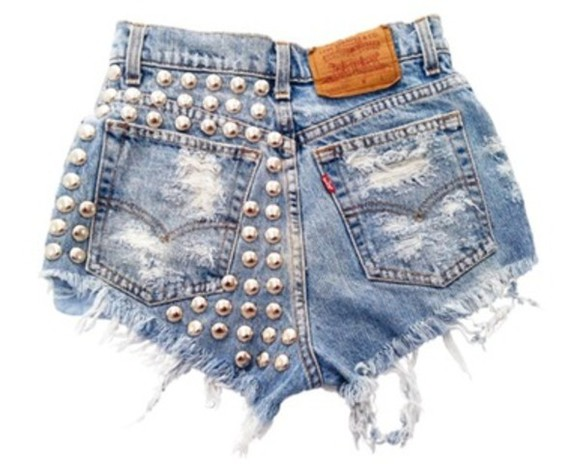 shorts denim rivets levi's destroyed high waisted