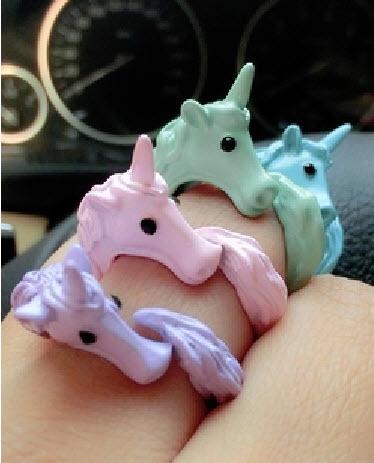 Free ship pastel unicorn ring