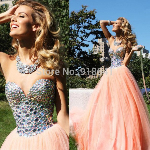 Aliexpress.com : buy fashionable long prom dress beaded crystals luxury formal dresses pink tulle ball gown floor length backless prom gowns from reliable gown manufacturers suppliers on online store andybridal