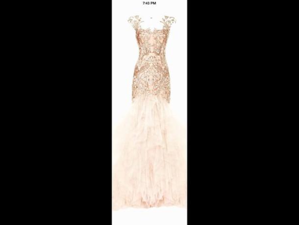 dress peach and gold dress