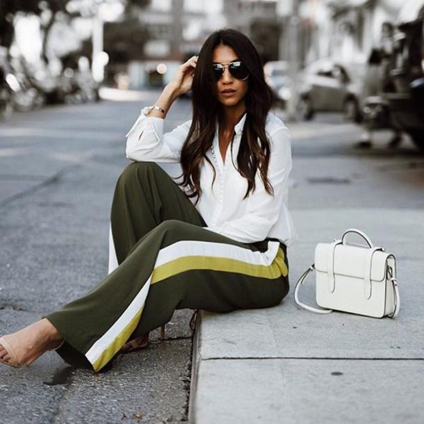 ec37a99488 pants tumblr green pants side stripe pants wide-leg pants shirt white shirt  bag white