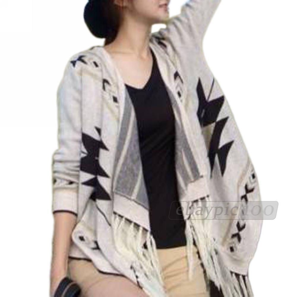 Women Sweater Cardigan Cape Poncho Knit Knitwear Top Batwing Tassel | eBay