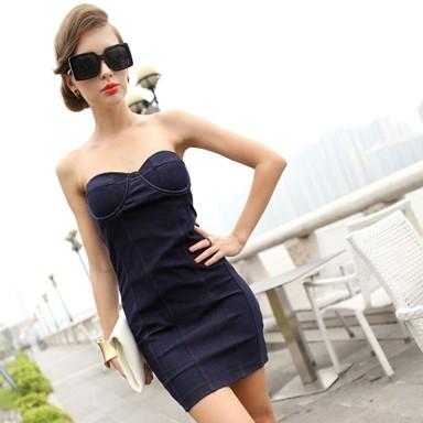 Off shoulder jean dresses for women blue