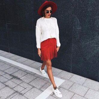 skirt red gorgeous hipster cool fringes fringe skirt
