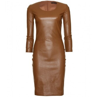 dress beige leather long sleeve dress