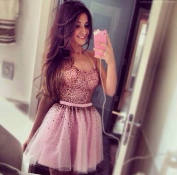 dress pink dress glitter dress pink beautiful pretty sparkles jewels girl prom dress