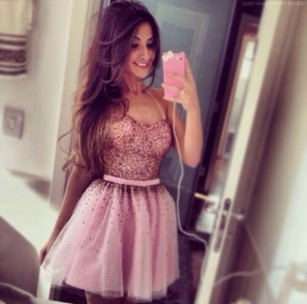 dress pink beautiful pretty sparkle jewels girl prom dress pink dress glitter dress