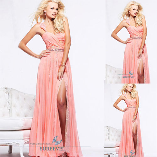 Pink One Shoulder Slit Evening Prom Party Gowns Formal Bridesmaid ...