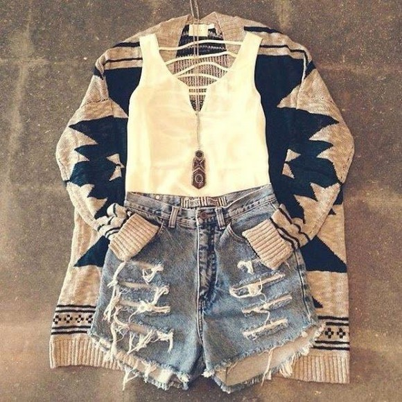 shirt white high waisted short aztec cardigan