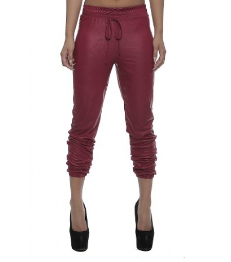Fuschia Faux Leather Joggers