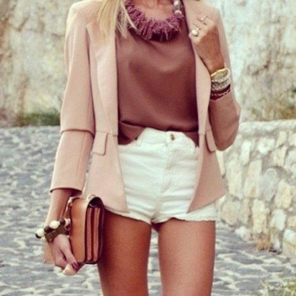 chic jacket blazer rose pourdré pink white shorts jewels brown top