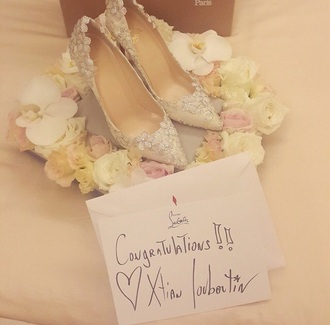 shoes chompoo arayahargate nottchomthewedding fashion style high heels nude pumps christian louboutin sneakers louboutin louboutin fashion mode style christian louboutin heels white high heels red high heels limited edition special occasion wedding dress wedding dress lace wedding shoes lace up heels flowered thailand gifts for her