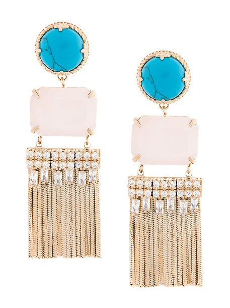women earrings gold grey turquoise metallic jewels