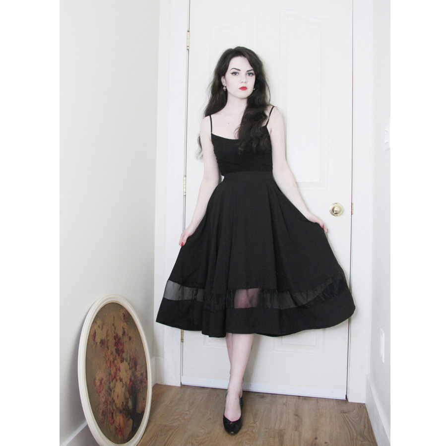 Organza Panel Midi Skirt in Black - Retro, Indie and Unique Fashion