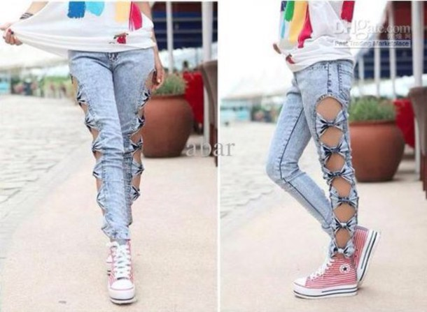 jeans bows cut out jeans