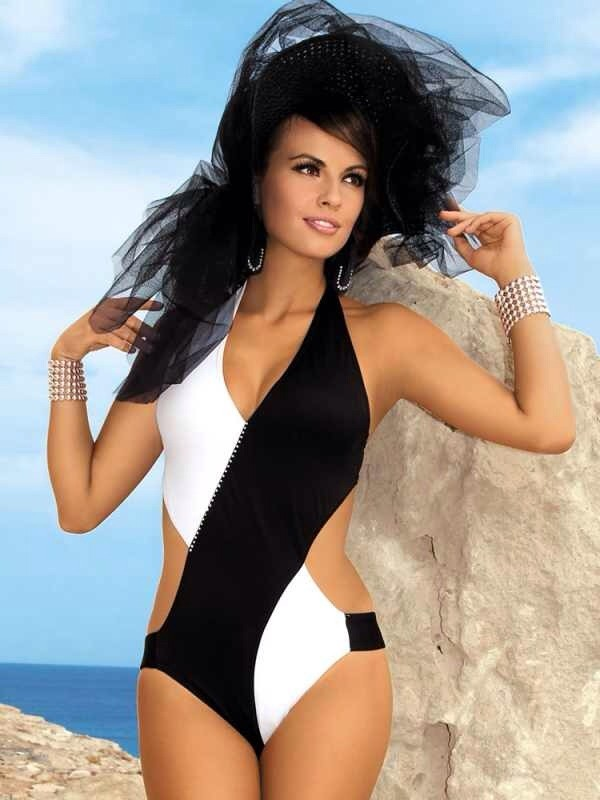 swimwear black & white swimsuit