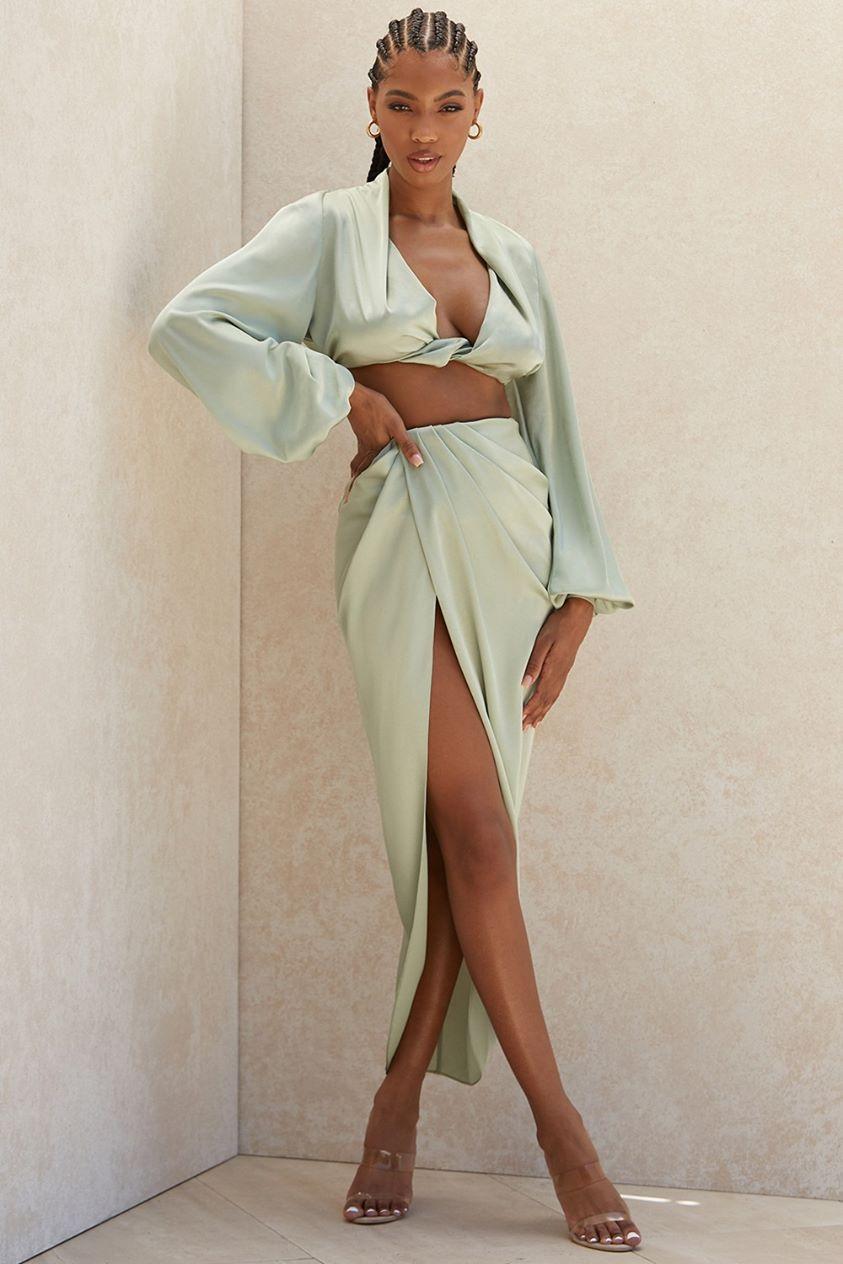 'Constance' sage silky satin draped skirt