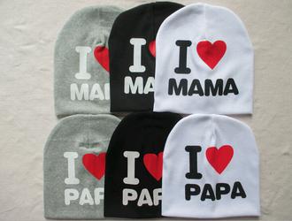 hat i love mama i love papa cap baby cap baby hat
