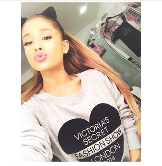 victoria's secret sweater winter sweater hair accessory jumper ariana grande style fashion london grey sweater top
