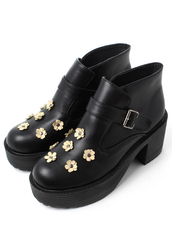 shoes,flowers,embellished,black,buckles,boots