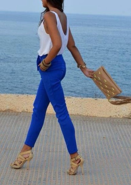pants blue pantalon bleu shoes