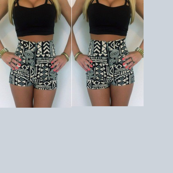 Shorts: aztec, high waisted shorts, black and white, shirt ...