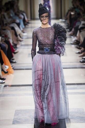 skirt maxi skirt tulle skirt top runway fashion week 2017 paris fashion week 2017 feathers armani prive