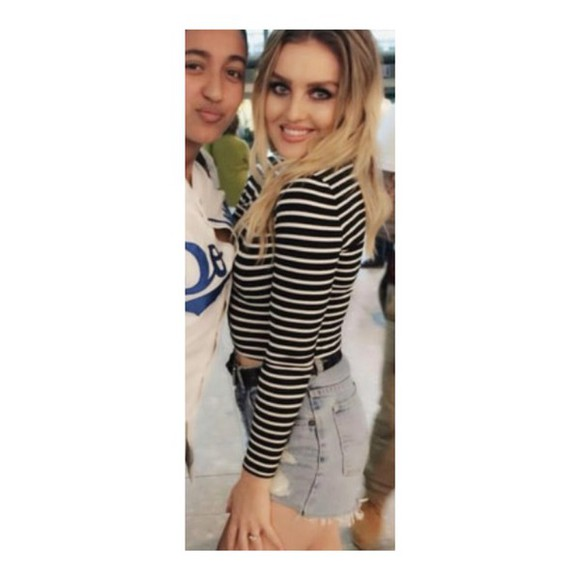 shorts denim shorts top little mix perrie perrie edwards stripy striped top, black and white black and white tops black and white top black long sleeved top tshirt. fashion style little mix blonde hair blonde