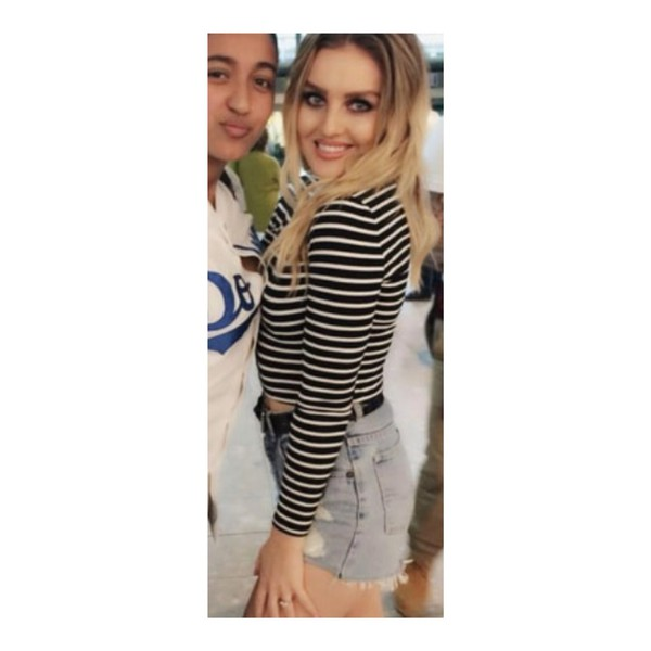 top perrie edwards perrie edwards stripy striped top black and white black and white tops black and white top black shorts denim shorts long sleeved top tshirt. fashion style little mix blonde hair blonde hair