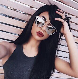 sunglasses silver sunglasses mirrored sunglasses top tank top grey top red lipstick