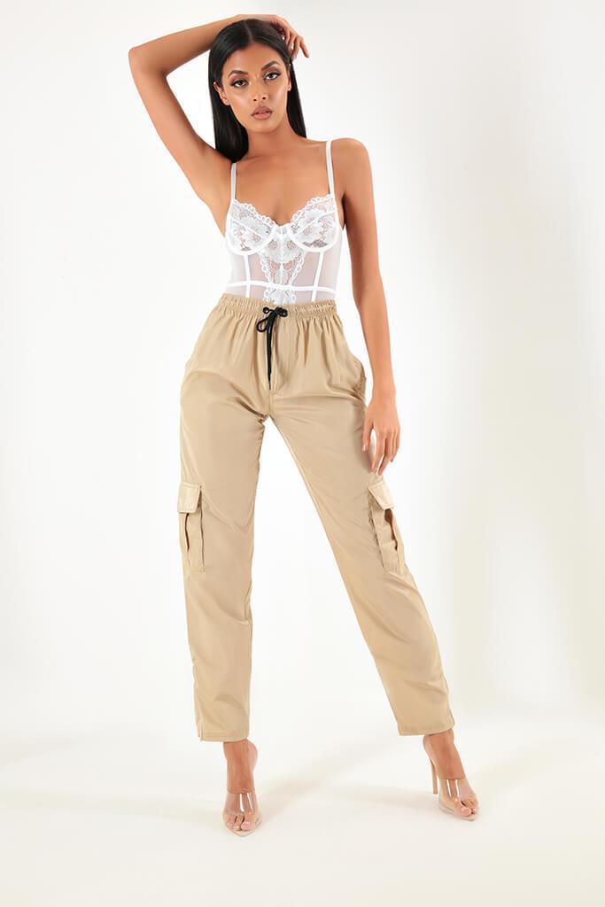 Beige Side Pocket Cargo Trousers