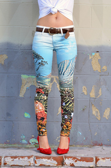 colorful patterns jeans tumblr pants tumblr girl tumblr clothes amazing cute