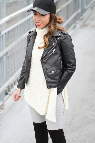 i am khatu blogger black leather jacket leather cap