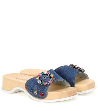 denim embellished embellished denim sandals blue shoes